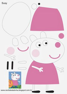 DIY Peppa Pig and George Party Favor Bags - tourism Peppa E George, George Pig, Pig Crafts, Felt Crafts, Molde Peppa Pig, Peppa Pig Printables, Diy For Kids, Crafts For Kids, Pig Birthday