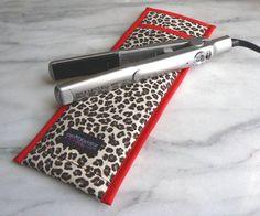 flat iron travel case - retro rockabilly red leopard print!