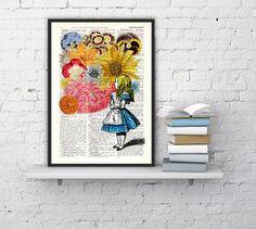 Alice in wonderland - Alice in wonderland with Flowers - Alice in Wonderland Collage Print on Vintage Dictionary Book art on Etsy, $7.99