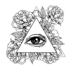 Blackwork tattoo flash. All seeing eye pyramid symbol with peony flower. Sacred geometry. Vector illustration isolated on white. Tattoo design, mystic symbol. New World Order. Eye of Providence.