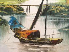 Greystone Fine Furniture - Original oriental oil of boats and mountain