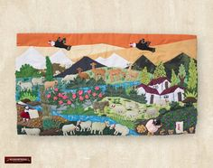 """Arpillera arte popular Del Perú 10""""x17.7"""" - Cuadro textil de pared - Decoracion Hogar - Decoracion de Interior con artesania peruana by DECORCONTRERAS on Etsy"""