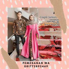 Setelan Dress Batik Couple Sarimbit Kombinasi Broklat Sarwendah Dress Kemeja Lengan Panjang Batik Couple, Sari, Couples, Model, Fashion, Saree, Moda, Fashion Styles