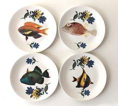 Fancy Fish tea plates. $54.00, via Etsy.