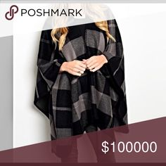 Must have mocha/black poncho! One size- large plaid print open poncho! Jackets & Coats Capes