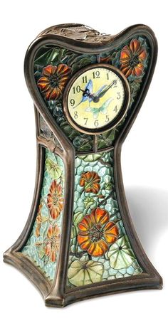 Art Nouveau Plique-a-Jour Enamel Table Clock, Eugene Feuillatre, circa 1900, 16.4 x 8.3 cm. Case by Feuillâtre, movement by Lépine