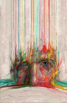 "samspratt:    ""Digital 0.1"" - Portrait painting by Sam Spratt  An experiment of sorts.  Follow my:portfolio website, tumblr,facebook artist's pageandtwitter."
