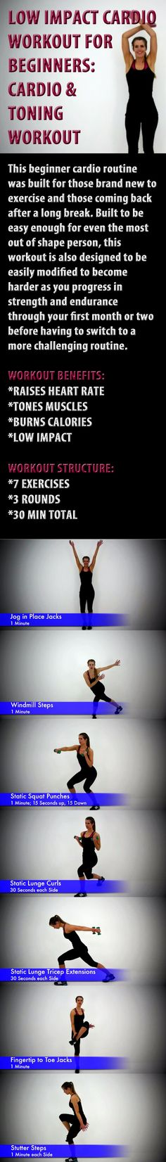 .Low Impact Cardio Workout for Beginners - Beginner Cardio & Toning Workout Routine. #lowimpactcardio #toningworkout #beginnercardio #beginnerworkout #fitness #exercise