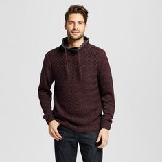 Men's Funnel Neck Colorblock Sweater Burgundy (Red) S - Citizen Wolf