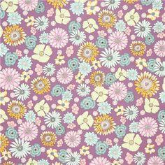 light purple flower fabric by Robert Kaufman USA