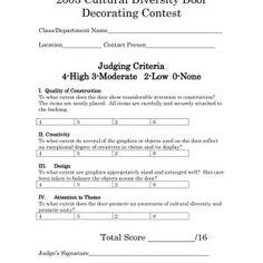 Halloween Door Decorating Contest Judging Sheet