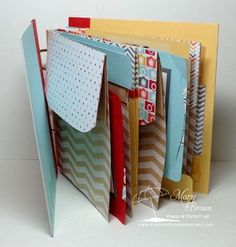 (Inside view)  Here's the cover of the Mini Paper Bag Album Created by Mary Brown for the Create with Connie and Mary Summer Collection Preview Week.  A FULL FREE downloadable tutorial (and MORE) is available for this project!
