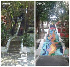 pintura da escadaria na R. Alves Guimarães, São Paulo - SP #olheodegrau