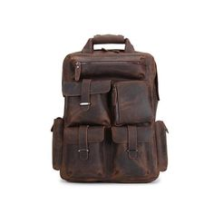 ROCKCOW Handmade Vintage Leather Backpack, Travel Backpack, Leather Backpack B826