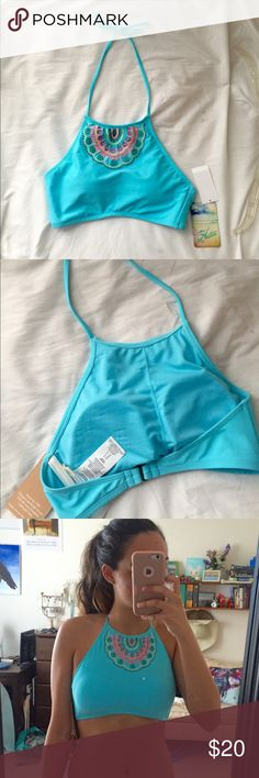 Teal Boho Bikini Top never worn with tags Very cute teal bikini top, can be worn with many different color bottoms! Swim Bikinis