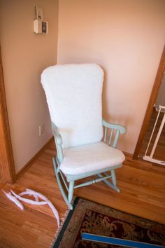 DIY Les Touches Upholstered Rocking Chair. A custom upholstered rocker for $100 that looks just like Brunschwig & Fils'. A complete step-by-step tutorial.