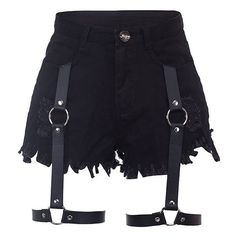 High Waist Denim Cutoffs With Leather Garter-BLACK-S ($41) ❤ liked on Polyvore featuring shorts, bottoms, skirts, black, high-rise shorts, high waisted zipper shorts, high rise denim shorts, leather shorts and cut off shorts