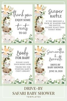 Drive By Jungle Safari Animals Baby Shower Printable Template. Celebrate your pregnancy during Covid-19. Thinking of having a lot of guest? This drive-by will be perfect for social distancing. #drivebybabyshower #covidbabyshower #socialdistancebabyshower #Facemask #SafariAnimals Baby Shower Parties, Baby Boy Shower, Baby Shower Gifts, Shower Party, Baby Showers, Baby Shower Templates, Baby Shower Printables, Party Printables, Jungle Safari