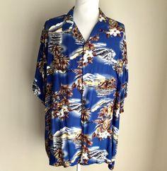 72621632 Hilo Hatties Hawaiian Aloha Shirt 5XL Blue Palms Ukulele Leis Coconut  Buttons #HiloHatties #Hawaiian
