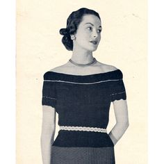 """Off Shoulder Evening Sweater Blouse Knitting Pattern, Metallic Stripe, 12-14-16   The pattern designer named this piece Ingenue - meaning """"innocent or unsophisticated young woman"""". Now, I can speak of the young woman here, but it wouldn't appy to this blouse."""