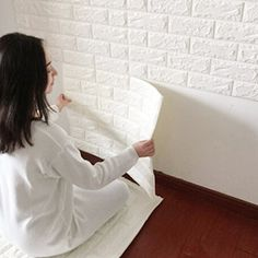 3D Brick Wall Stickers, PE Foam Self-adhesive Wallpaper Removable and Waterproof Art Wall Tiles for Bedroom Living Room Background TV Decor(23'' x 23'', white)