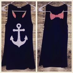 Anchor Tank- Navy with Coral Accent Bow