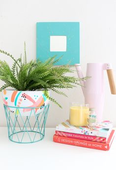 DIY Modern Bowl Planter - Super simple way to dress up your houseplants! Lovely Indeed