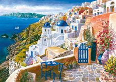 Title: View of Santorini Artist: Sam Park Description: Sam Park captures the essence of Santorini, Greece in View of Santorini. Mediterranean Paintings, Hirsch Tattoo, Greece Painting, Italy Painting, Pintura Exterior, Park Art, Paint By Number Kits, Needlepoint Canvases, Beautiful Places To Visit