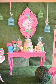 A Lilly Pulitzer Themed Birthday Party Dessert Table