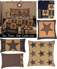 The Teton Star Collection, Navy and khaki colored quilt features a stars and bars patchwork pattern design.  / #Primitive #country #quilted #bedding #TetonStar #teton #Logcabin #Lodge #farmhouse #VHC #VictorianHeart #Victorian #heart