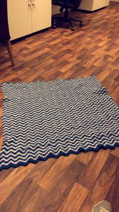 Finished ripple stitch blanket