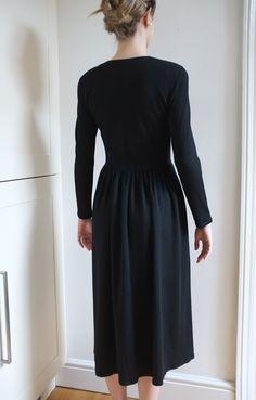 vintage black wool winter dress by Jaegar // size by CristalinaIC, £58.00