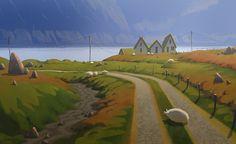 Meet The Art of Szymon Biernacki, a Freelance Visual Development and Concept Artist based in Poland. Environment Concept, Environment Design, Matte Painting, Light Painting, Landscape Art, Landscape Paintings, Landscapes, Iceland Landscape, Art Environnemental