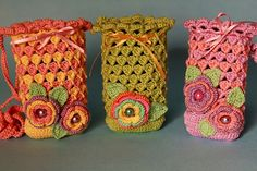 Beautiful Crochet cell phone bags (private Flickr photo - sigh)