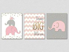 Gold Nursery Art, Pink Gray Gold Nursery, Baby Girl Elephant Nursery, Dream Big Little One, Pink Gold Nursery Decor, Faux Gold Foil Art