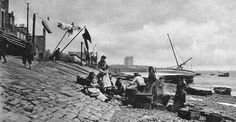 Old photograph of fisher folk on the coast at Broughty Ferry by Dundee , Scotland . Formerly a prosperous fishing and whaling village, in th. Old Photographs, Old Photos, Dundee University, Bristol Blenheim, 25 Years Old, North Africa, Historical Photos, Cemetery, Fisher