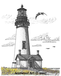 Yaquina Head Lighthouse II, from original pen & ink by Wayne Bricco, Acrewood Art