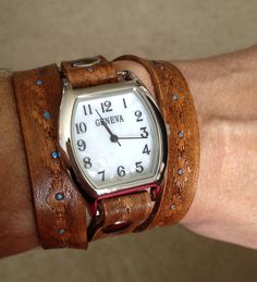 Leather Wrap Watch Cuff Bracelet - Made to Order - Cowboy Brown with Southwest Design-Leave Me Your Wrist Measurement. $69.00, via Etsy.