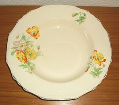VINTAGE ART DECO ALFRED MEAKIN ORANGE AND YELLOW POPPY DESIGN BOWL DISH