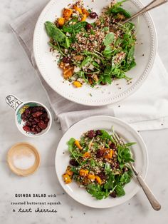 Butternut Squash and Tart Cherry Quinoa - My #1 favorite healthy & hearty fall salad with butternut squash, tart cherries and a savory apple cider sage dressing. Gluten free.