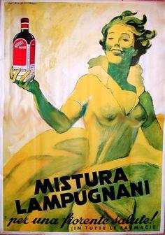"""Mistura Lampugnani (Italy), 1954. A tonic """"for flourishing health!"""" Artist: Marcello Dudovich (1878-1962). Printer: Istituto Italiano di Arti grafiche, Bergamo."""