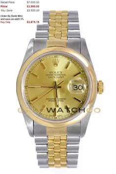 This watch is an Authentic Rolex Mens Stainless Steel & 18K Gold Datejust Model 16203 Jubilee Band with an 18K Yellow Gold Smooth Bezel and a Champagne Stick Dial. The watch is in Mint Day one condition and comes with all box, booklets, tags, and all applicable paperwork.
