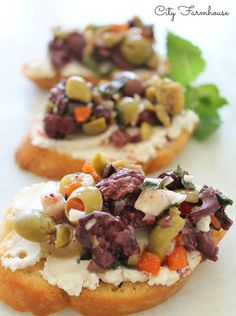 Herbed Olive Tapenade with Goat Cheese Bruschetta! Great healthy appetizer to serve at your next party! | city farm house