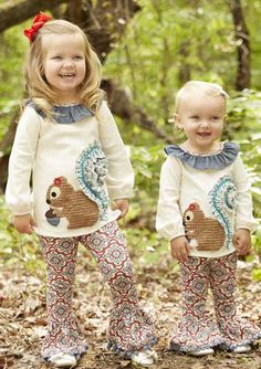 This two piece fall forest collection pant set is available for newborn, infant and toddler girls and features matching top and pants for a fun look that's sure to delight little girls.  She'll be set to roam the woodlands with forest friends in this play date ready squirrel tunic and legging set!