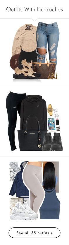 Outfits With Huaraches by barbiedatrillest ❤ liked on Polyvore featuring Ralph Lauren, Miss Selfridge, NIKE, Louis Vuitton, Michael Kors, Topshop, Casio, Asprey, Talbots and Casetify