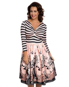a1d33ff5f88 Lindy Bop Sinead  Pink Fairies Print Swing Dress at Amazon Women s Clothing  store  Vintage