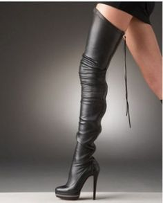 Christian Louboutin Black Thigh-high Leather Boots
