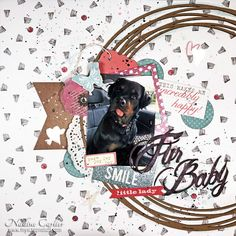 "A dog ""Fur Baby"" scrapbook layout page using chipboard from Creative Embellishments by @scrappinready with process video"