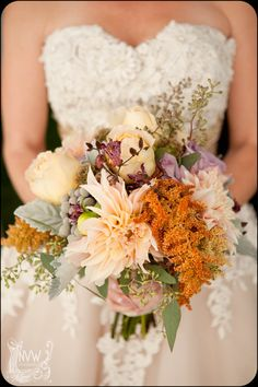 bouquet with locally grown dahlias, amaranth, dusty miller and toad lilies  by LynnVale Studios, llc, www.LynnVale.com, photo by Northern Virginia Wedding Photography