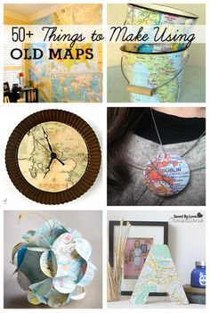 Love old maps. I'm thinking the clock to start! Over 50 DIY Projects Using Old Maps Map Crafts, Travel Crafts, Crafts With Maps, Travel Diys, Map Projects, Diy Projects To Try, Diy Projects For Bedroom, Origami, Ideias Diy